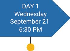 Day 2. Sept 22, 6:30p